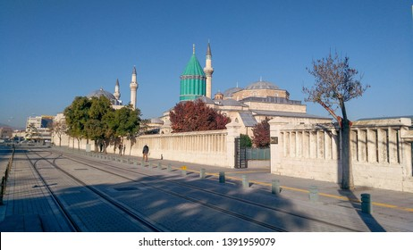 KONYA / TURKEY- 2 SEPTEMBER 2018: Mevlana Tomb, Mosque and Museum in Konya City. Mevlana Celaleddin-i Rumi is a sufi philosopher and mystic poet of Islam.