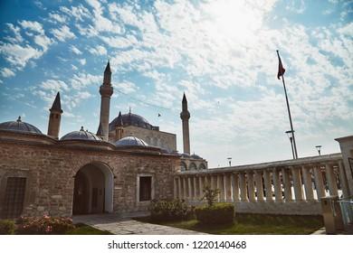 Konya, Turkey 25 april 2018: Mevlana tomb and Selimiye mosque at Konya, Turkey known also as mevlana kulliyesi or mevlana turbesi and Selimiye camii
