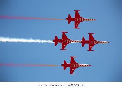 KONYA, TURKEY - April 10 2016: Konya Turkish Stars park opening ceremony. Konya Turkish Air Force Demonstration Team Turkish Stars April 10, 2016
