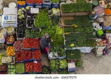 Konya, Turkey - April 23,2017: Melike Hatun Bazaar (Women Bazaar) Vegetables, fruits and spices in traditional typical Turkish grocery bazaar. Bazaar in Turkey