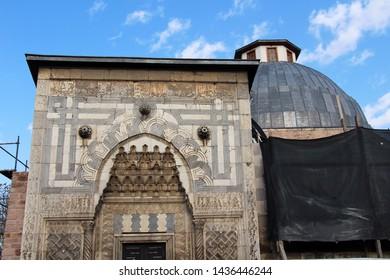 Konya, Turkey - April 28, 2019: Karatay Madrasah vire in Konya. Konya is populer tourist destination in Turkey