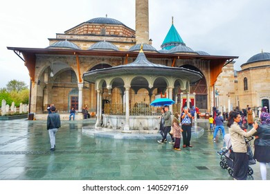 """Konya, Turkey- Circa May, 2019: Mevlana Rumi Museum visiting hour during month of Ramadan. Mevlana Rumi is a Persian poet, Islamic scholar, theologian and Sufi mystic in Turkey."""