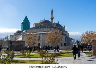 Konya, Turkey - December 17, 2017; Mevlana museum in Konya, Turkey.