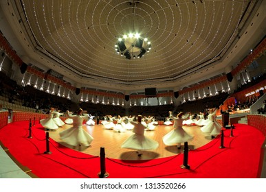 Konya / Turkey - February 02 2019: Konya cultural center Semazen and Semazen Dervishes show