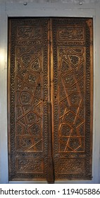 Konya / TURKEY  - JANUARY 01,2018:  The wooden door detail of Ince Minareli Medrese (Madrasah with thin minaret) in Konya.