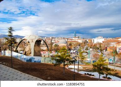 Konya, Turkey - January 27, 2013: City landscape views from Alaaddin Mosque in Konya, Turkey