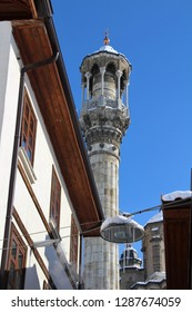 Konya / Turkey - January 9, 2019: Aziziye Mosque view in Konya. Konya Bedesten bazaar and snow scenery.