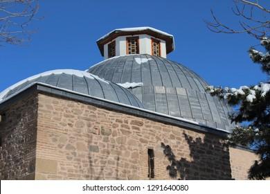Konya, Turkey - January 9, 2019 : Karatay Madrasah vire in Konya. Konya is populer tourist destination in Turkey.