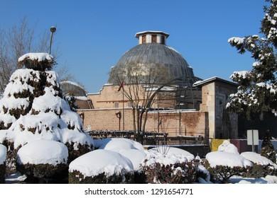 Konya, Turkey - January 9, 2019: Karatay Madrasah vire in Konya. Konya is populer tourist destination in Turkey.