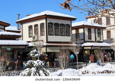 Konya / Turkey - January 9, 2019: A view from the Konya Bazaar on a snowy day.