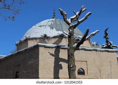 Konya / Turkey - January 9, 2019: Basara Bey Mosque in the Seljuk period in Konya.