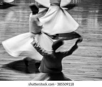 KONYA, TURKEY - July 25, 2015; Whiriling dervishes perform religious dance ceremony on July 25, 2015 in Konya.