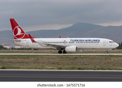 Konya, TURKEY - June 05, 2015: Turkish Airlines Boeing 737 taxiing to apron to unboard. THY is the flag carrier of Turkey with a big fleet.