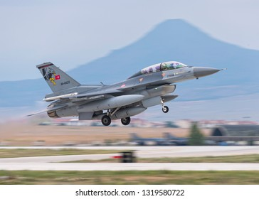 KONYA, TURKEY - June 08 2016: Several F-16 of Turkish Air Force gather for a military exercise know as Anatolian Eagle. Pilots execute several war senarios and train.