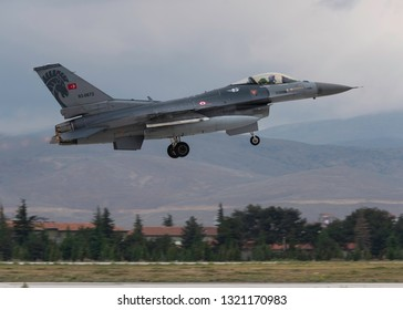 KONYA, TURKEY - June 08 2016: Several F-16 jets of Turkish Air Force gather for a military exercise know as Anatolian Eagle. Pilots execute several war senarios and train for warfare.