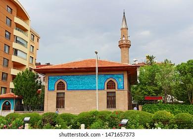 Konya / Turkey - June 1, 2019: Amber Reis Mosque, located in Konya, belongs to the Ottoman period.