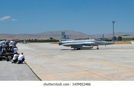 Konya, Turkey June 2019. Pakistan Air Force Chengdu JF-17 Thunder supersonic jets from No 2 Squadron participate in the annual Anatolian Eagle COMAO exercise.