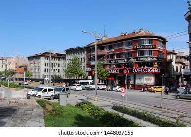 Konya / Turkey - June 22, 2019: A view from Alaeddin Boulevard in Konya