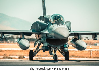 KONYA, TURKEY - June 25 2019: Several F-16s of Turkish Air Force gather for a military exercise known as Anatolian Eagle. Pilots execute several war scenarios and train for warfare.