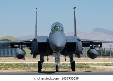 KONYA, TURKEY - June 25 2019: Several F-16s of Turkish Air Force and USAF gather for a military exercise known as Anatolian Eagle. Pilots execute several war scenarios and train for warfare.