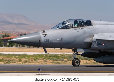 KONYA, TURKEY - June 25 2019: Several F-16s of Turkish Air Force and Pakistan Air Force gather for a military exercise known as Anatolian Eagle. Pilots execute  war scenarios and train for warfare.