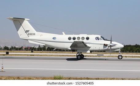 KONYA, TURKEY - JUNE 26, 2019: US Air Force Beechcraft C-12C Huron (CN BD-24) taxi in Konya Airport during Anatolian Eagle Air Force Exercise