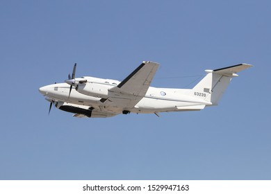 KONYA, TURKEY - JUNE 26, 2019: US Air Force Beechcraft C-12C Huron (CN BD-24) takes off from Konya Airport during Anatolian Eagle Air Force Exercise