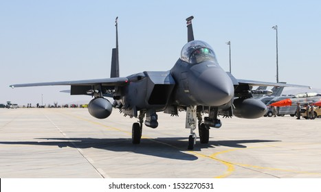 KONYA, TURKEY - JUNE 26, 2019: US Air Force Boeing F-15E Strike Eagle (CN 1368/E229) taxi in Konya Airport during Anatolian Eagle Air Force Exercise