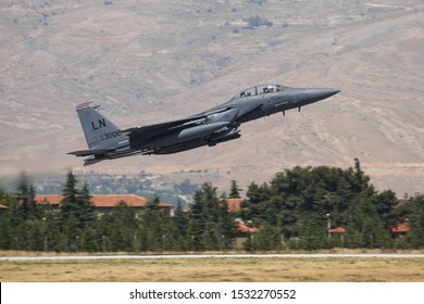 KONYA, TURKEY - JUNE 26, 2019: US Air Force Boeing F-15E Strike Eagle (CN 1368/E229) takes off from Konya Airport during Anatolian Eagle Air Force Exercise