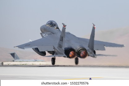 KONYA, TURKEY - JUNE 26, 2019: US Air Force McDonnell Douglas F-15E Strike Eagle (CN 1247/E205) takes off from Konya Airport during Anatolian Eagle Air Force Exercise