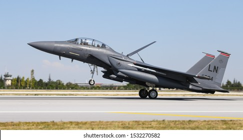 KONYA, TURKEY - JUNE 26, 2019: US Air Force McDonnell Douglas F-15E Strike Eagle (CN 1247/E205) landing to Konya Airport during Anatolian Eagle Air Force Exercise