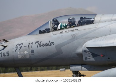 KONYA, TURKEY - JUNE 26, 2019: Pakistan Air Force Pakistan JF-17 Thunder taxi in Konya Airport during Anatolian Eagle Air Force Exercise