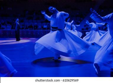 KONYA, TURKEY - MARCH 04, 2017: Whirling Dervish sufi religious dance - KONYA TURKISH TASAVVUF MUSIC COMMUNITY SHOW