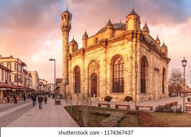 Konya. Turkey - March, 2017. Aziziye Mosque at sunset light