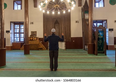 KONYA, TURKEY - MARCH 24, 2018: The seyyid harun mosque is a Muslim who prayed alone, in Konya, Turkey. The Aaron Veli mosque, built in 1320, continues to be used today.