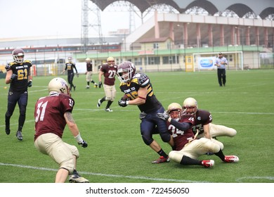 Konya, Turkey - May 03, 2015 : American football players are playing during the Unilig University summer competitions on May 03, 2015 in Konya, Turkey.