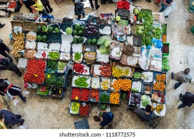 Konya, Turkey - MAY 13, 2018: Melike Hatun Bazaar (Women Bazaar) Vegetables, fruits and spices in traditional typical Turkish grocery bazaar top view. Bazaar in Konya,Turkey.