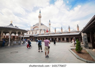 Konya, Turkey, May 2019 : Vacation in Turkey view of Mevlana Museum during summer located in Konya, Turkey, is the mausoleum of Jalal ad-Din Muhammad Rumi, a Persian Sufi mystic also known as Mevlâna