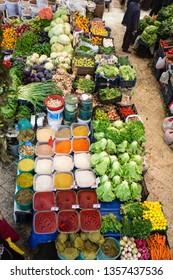 Konya, Turkey - NOVEMBER 18, 2018. Melike Hatun Bazaar (Women Bazaar) Vegetables, fruits and spices in traditional typical Turkish grocery bazaar top view. Bazaar in Konya,Turkey