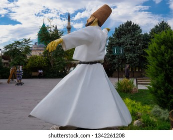 Konya, Turkey - October 08, 2018: The sculpture of Sufi whirling or turning which is a form of physically active meditation which originated among Sufi dervishes of the Mevleni in Konya city, Turkey.