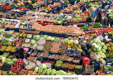 Konya, Turkey - October 18, 2017: Melike Hatun Bazaar (Women Bazaar) Vegetables, fruits and spices in traditional typical Turkish grocery bazaar top view. Bazaar in Konya,Turkey.