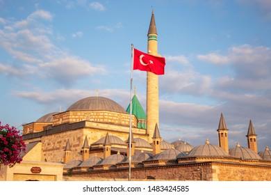 Konya Turkey Ottoman Mevlana Museum and islamic Mosque and minaret
