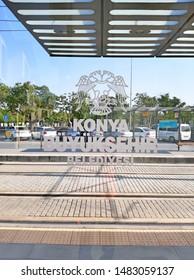 """Konya,Turkey- Circa August, 2019: Konya Buyuksehir Belediyesi tram station during weekdays."""