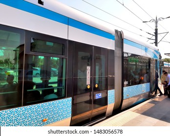 """Konya,Turkey- Circa August, 2019: A picture Konya Tramvay tram at the station during weekdays."""