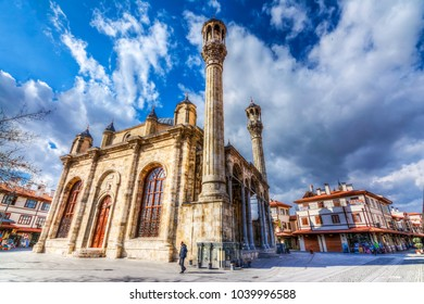 Konya,Turkey - March 10, 2016 :Aziziye Mosque view in Konya. The architectural style is a mixture of boroque and traditional Ottoman architecture.