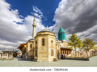 Konya,Turkey - March 10, 2016 : Mevlana museum  view from garden, Mevlana Celaleddin-i Rumi is a sufi philosopher and mystic poet of Islam.