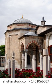 Konya,Turkey - Mevlana museum view from exterior and zoom-in to the details, Mevlana Celaleddin-i Rumi is a sufi philosopher and mystic poet of Islam.