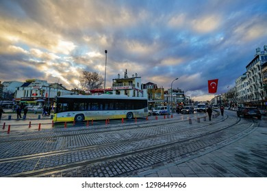 Konya,Turkey-January 5th,2019:The busy city of Konya filled with public and personal transportation.Konya is one of the finest city in Turkey.