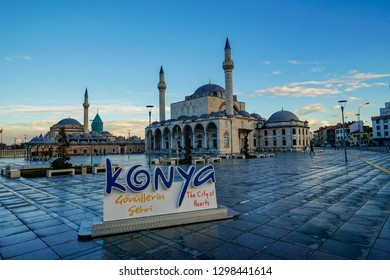 Konya,Turkey-January 5th,2019:The Konya name statue at in front of Mevlana Rumi mosque.This is the place where the famous poet Rumi was burried and museum was build to remember his legacy.