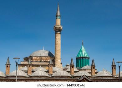 Konya,Turkey-June 5,2019.Mevlana Museum known as the Green Mausoleum or Green Dome.Mevlana Museum and Selimiye mosque is located in Konya, Turkey.